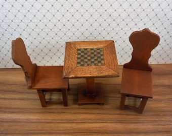 Dollhouse miniature furniture in twelfth scale or 1:12 scale.  Pub table with game top.  Item # D207.
