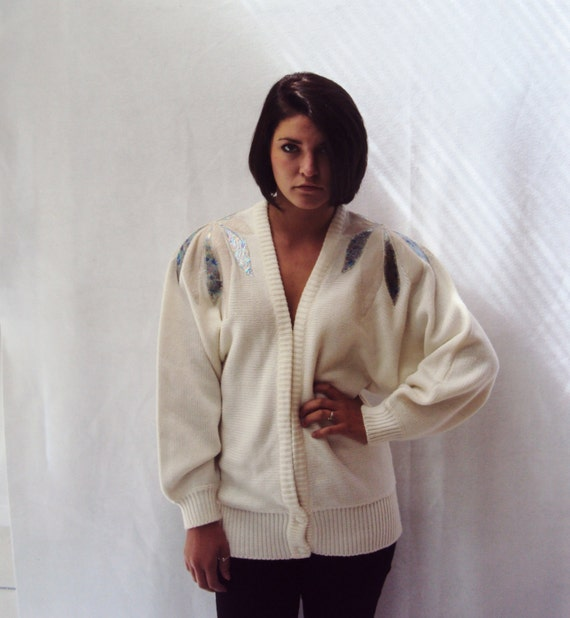 vintage 80s Puff Sleeve sweater / OFF WHITE / Cardigan sweater, Puff Sleeves,  medium