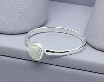 Tiny Opal Sterling Silver Ring Minimalist Jewelry