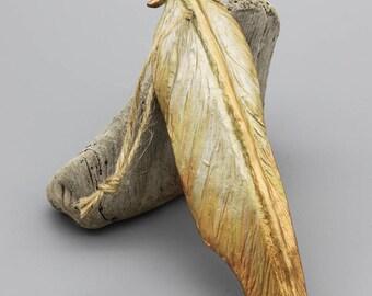 Metallic Gold Cast Resin Phoenix Feather Ornament