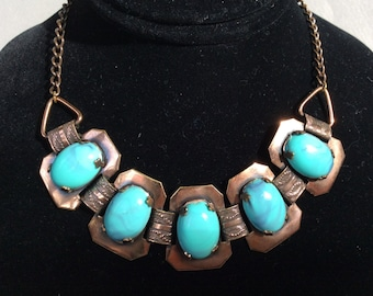 Copper and Faux Turquoise Necklace