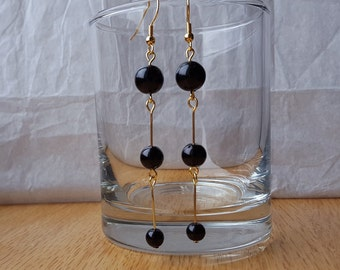 Round Black Bead Trio Drop Earrings with Gold Accents
