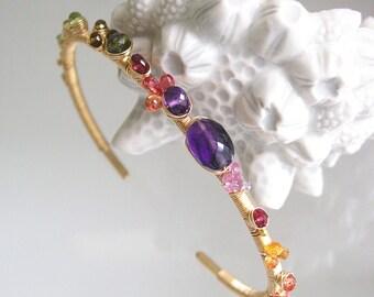 Colorful Gemstone Cuff, 14k Gold Filled Stacking Bracelet, Amethyst, Sapphire, Tsavorite, Tourmaline, Boho Layering Jewelry, Artisan Made