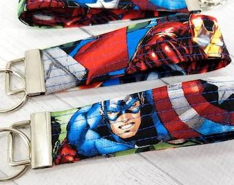 Key Fob - Key Wristlet - Made from Marvel Captain America Iron Man Hulk Black Widow fabric - Gift for Teacher, Dad, Mom, Pet Sitter,Friend