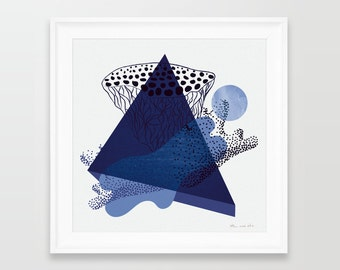 Limited edition prints, limited edition, geometric art, geometric print, geometric poster, contemporary print, square prints, blue prints