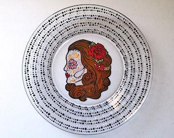 Sugar Skull Plate Hand Painted Glass Day of the Dead Dia De Los Muertos Calavera Catrina Mexican Folk Art Spanish Spanish Wedding & Sugar Skull Decorative Plate Hand Painted Glass Day of the