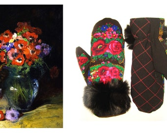 Russian Handmade Mittens Made From Pavlovo Posad Scarves
