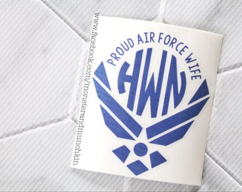 Proud Air Force Wife decal, Air Force Wife, Milspo, Decal, Air Force decal, Monogrammed, Monogram, Personalized, USAF. I Love My Airman