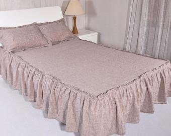 "Linen Bed Coverlet DROP Length 15"" Bed Skirt Dust Ruffle Linen Stonewashed Natural Coverlet Medium Weight Linen Bedspread Bedroom home decor"