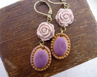 Purple and Lilac Dangling Earrings - Romantic Flower Earrings