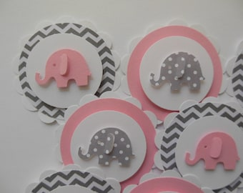 Elephant Cupcake Toppers - Pink,Gray and White - Chevron - Polka Dots - Girl Baby Shower Decorations - Girl Birthday Parties - Set of 12