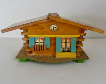 Vintage Swiss Chalet Cottage Piggy bank, Vintage Piggy Bank with key