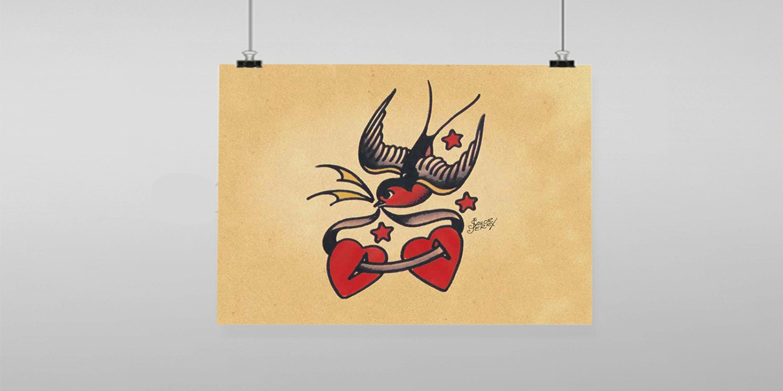 Love Bird Heart Sailor Jerry Vintage Reproduction Wall Art