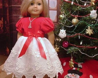 Red Velvet and Lace Special Occasion Dress, Shoes, and Headband for American Girl Dolls