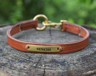 Leather ID Tag Dog collar - size S