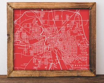 Warren Map Warren Art Warren Map Art Warren Print Warren Printable Warren City Art Warren City Map Ohio Art