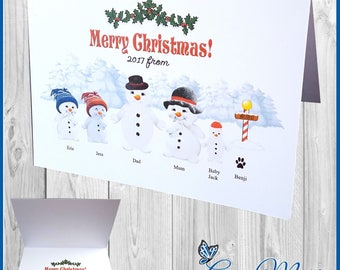 10 x Personalised Family Christmas Cards Xmas Snowmen Greetings Cards With Envelopes