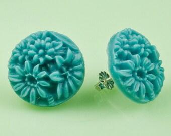 Vintage Blue Flower Post Earrings