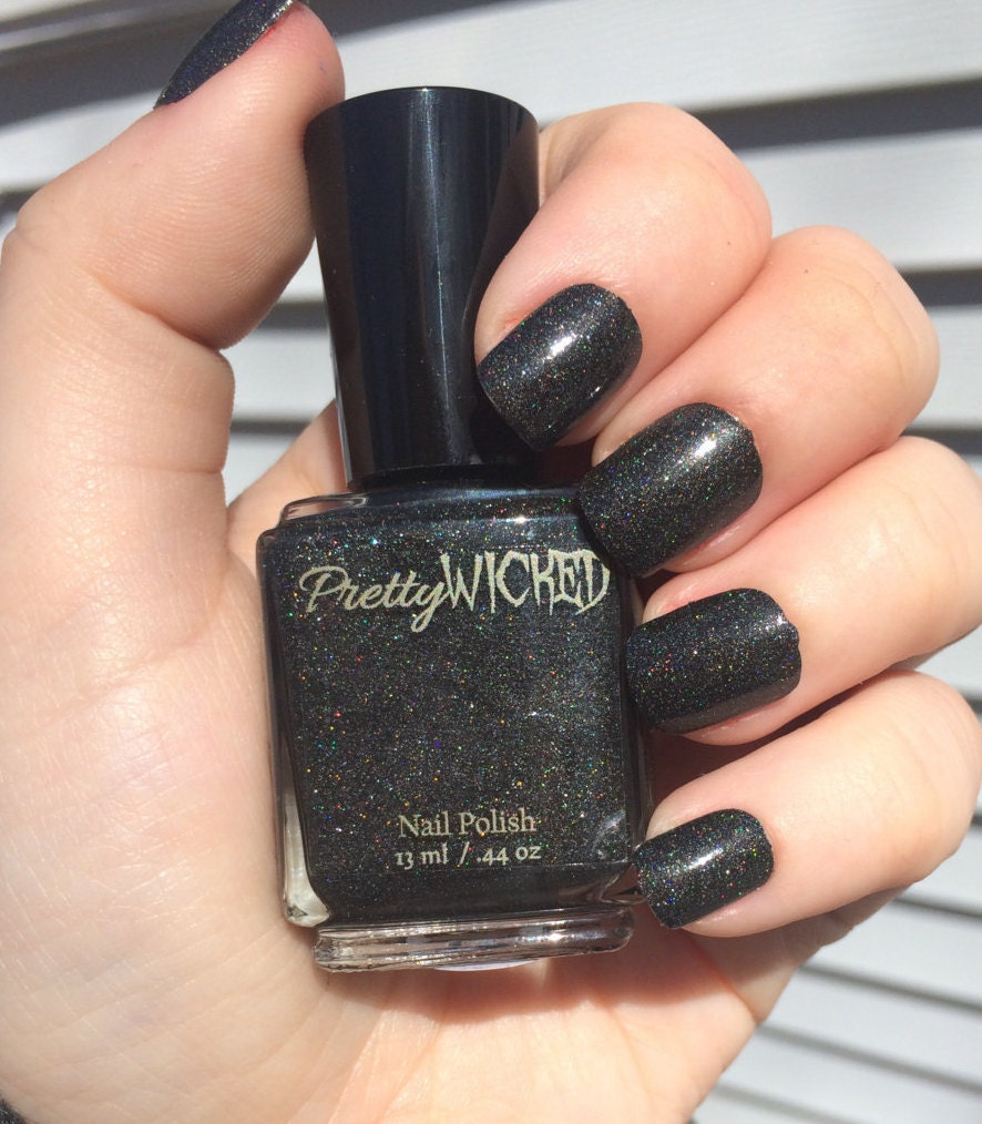 Black Holographic Nail Polish, Dakota Polish, Black Nail Polish ...