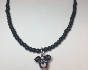 Lampwork dog beaded necklace