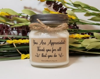 8oz Thank You Candles - Soy Candles Handmade - Coworker Gift - Boss gift - Secretary Gifts - Mason Jar Candles - Employee Appreciation