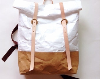 Backpack : Tyvek and Kraft paper roll top backpack/travel bag/beach bag/washable bag/lightweight and eco friendly