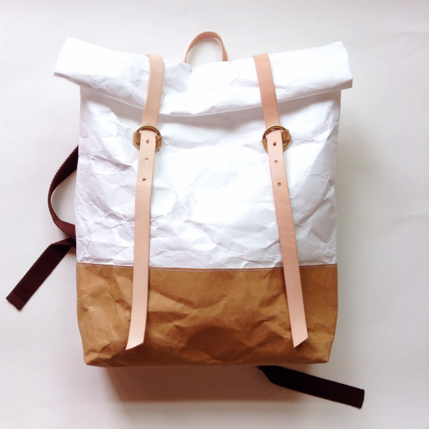 Backpack : Tyvek and Kraft paper roll top backpack/travel