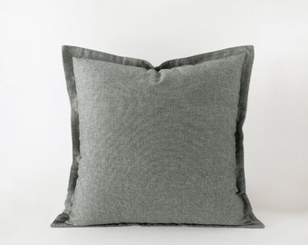 Grey decorative pillow cover with a flange in 16x16 inches - 18x18 inches - 20x20 inches and more sizes - plain medium grey cushion cover