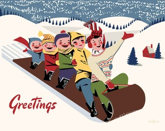 Toboggan Fun Greetings - 11 x 14 Print