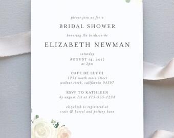 Bridal Shower or Baby Shower Invitation / Elegant Blush Floral Wedding Invitation Suite / Blush Floral Weddings / #1136