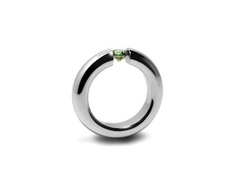 Peridot Tension Set Ring Stainless Steel