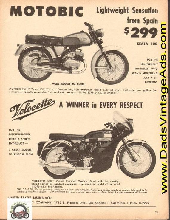 1965 Motobic Seata 100 from Spain / Velocette 500 Venom Clubman Veeline Ad #d65ca03