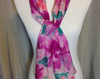 Shades of Purple Flowered Sheer Scarf or Belt, Extra Long 55 Inches by 11.5 Inches Previously 15 Dollars ON SALE