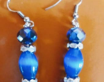Blue Catseye Style Beads on surgical steel wires