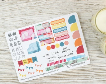 Flowers Hobonichi Monthly Planner Stickers; Spring Kit; Summer Kit; Monthly Sticker Kit; Hobonichi Techo Cousin Sticker