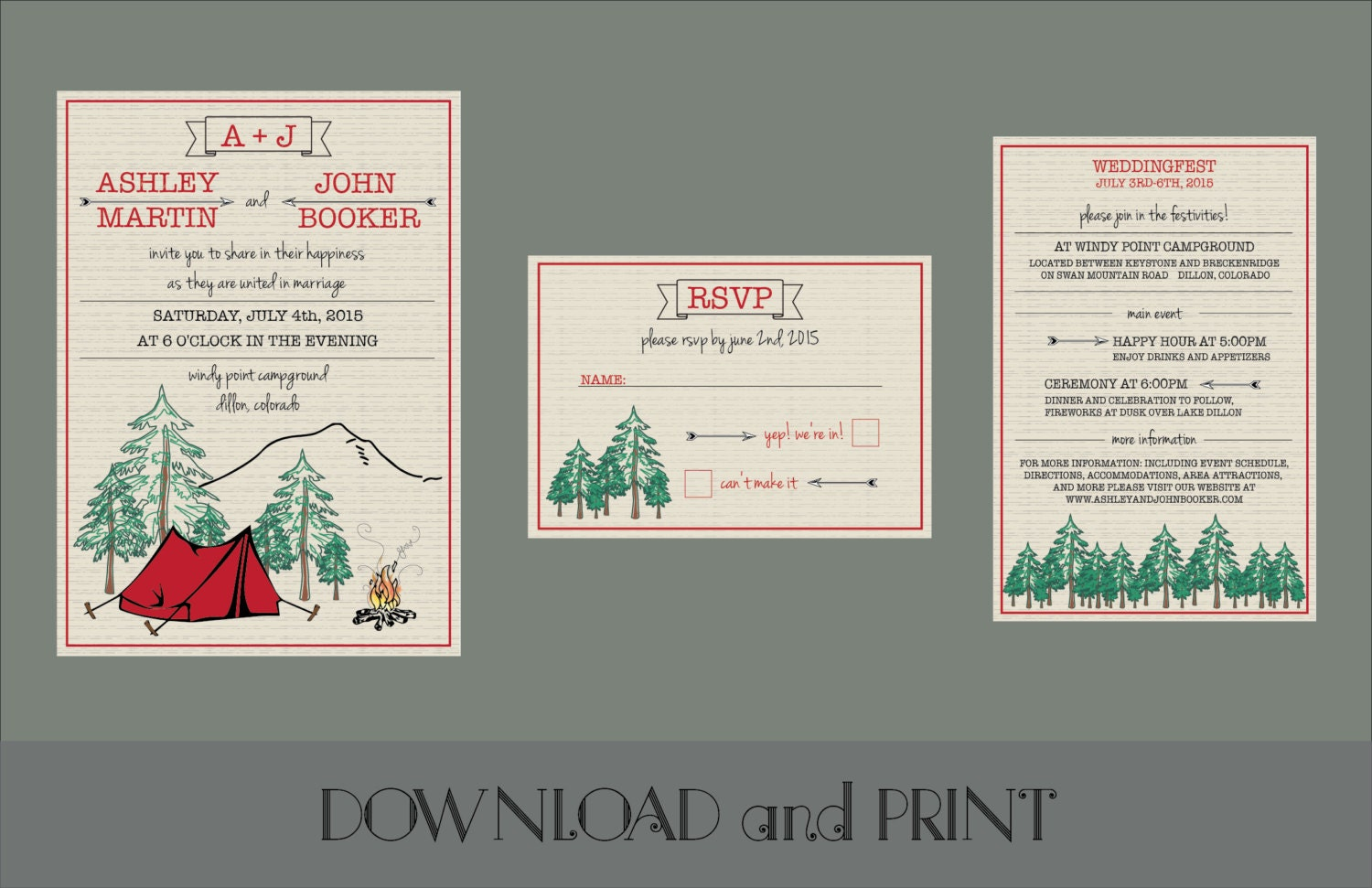 Printable Camping Themed Wedding Invitation RSVP Card and