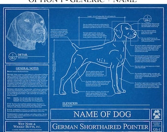 Personalized German Shorthaired Pointer Blueprint / EGerman Shorthaired Pointer Art / German Shorthaired Pointer Gift