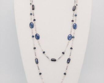 Kyanite, Pearl and Iolite Multi-Strand Sterling Silver Necklace