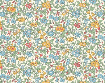Liberty The Cottage Garden Forget Me Not Blue & Yellow Fabric - Liberty 100% Cotton Quilting Fabric