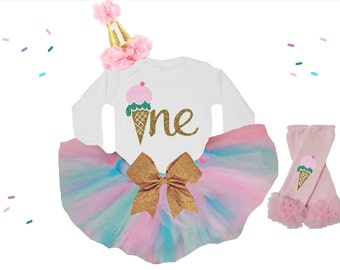 Baby Girl first birthday outfit / Ice Cream first birthday outfit / Ice Cream cone birthday outfit / Ice Cream birthday