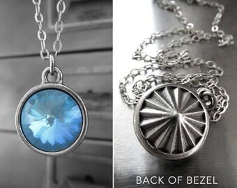 Blue Ghost Crystal Necklace, Mystical Tranlucent Sky Blue Multicolor Swarovski Rivoli Crystal Pendant, Antiqued Silver Chain Necklace 1122