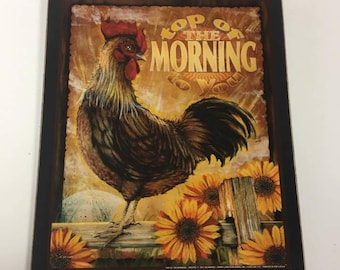 Rooster Top Of The Morning Sunflowers Country Kitchen Wooden Wall Art Sign  Farm House Decor Farming