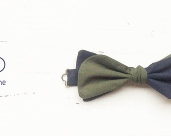 Blu and green bow tie, double colorbow tie, man bow tie, groom bow tie