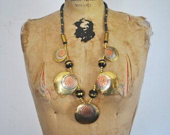Vintage 1980s Bold Brass Ethnic Long Necklace