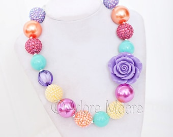 Tangerines and Lilac Necklace, Spring Chunky Necklace, Easter Necklace, Chunky Bead Necklace, Child Girls Necklace
