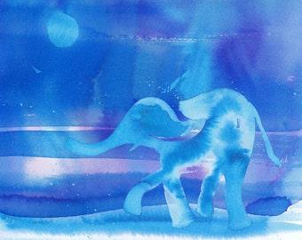"Art Print Blue Elephant Watercolor 11x14"""