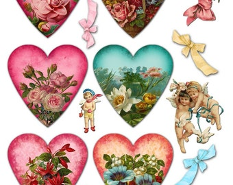 Romantic Hearts and Flowers Collage Sheet with Hearts, Cherubs, Angels, and Bows - Instant Download - Printable