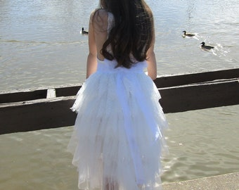 White flower girl dress,White lace dress,White tutu dress,White tulle dress, Bridesmaid,Birthday,Wedding, Holiday,Party, Rustic wedding