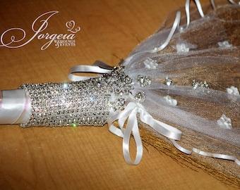 Crystal Wedding Broom for Jumping of the Broom Ceremony, Wedding Broom, Wedding Gift Idea,