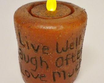 Grubby Tea Light Pillar Candle, Primitive Candles, Country Farmhouse Decor
